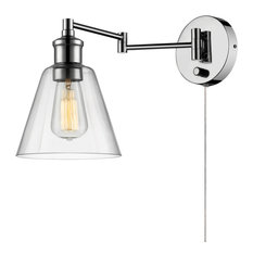 Globe Electric   LeClair 1 Light Chrome Plug In Or Hardwire Industrial Wall  Sconce