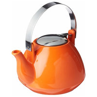 Creative Home Ceramic Teapot With Stainless Steel Lid and Infuser, Orange