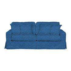 Sunset Trading   Sunset Trading American Slipcovered Sofa, Indigo Blue    Sofas