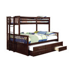 Shelton Extra Long Twin Over Queen Combo Bunk Bed, Espresso