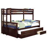 "Sleep and Play USA - Shelton Extra Long Twin Over Queen Combo Bunk Bed, Espresso - Our Shelton Extra Long Twin over Queen Combo Bunk Bed is a first of its kind! It features an extra long twin bed on top with a queen bed on the bottom and below that is an extra long twin trundle with drawers. It is built of hardwood solids and stained a rich Espresso finish or warm oak. Includes: extra long top twin and bottom queen beds, extra long twin trundle bed with 3 underbed storage drawers, 2 guardrails, end ladder and Euro-slats. 64-3/4""W x 86-3/4""L x 71-3/4""H."