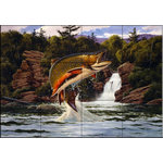 """The Tile Mural Store (USA) - Tile Mural, Brook Trout 2 by John Rice - *24 Tile Mural on 6"""" ceramic satin finish tiles.  AMERICAN MADE !!"""