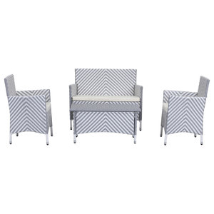 Safavieh Mendoza Outdoor Dining Set, 4-Piece, Grey and White