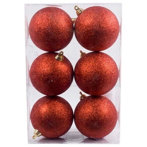 Xmas Baubles, Pack of 6, 80 mm, Red Glitter Shatterproof