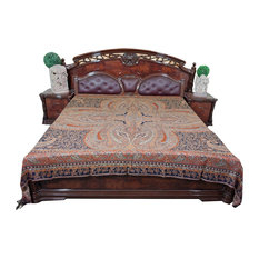 Mogul Interior - Throw Orange Self Design Indian Jamawar Bedspreads King Sz - Throws