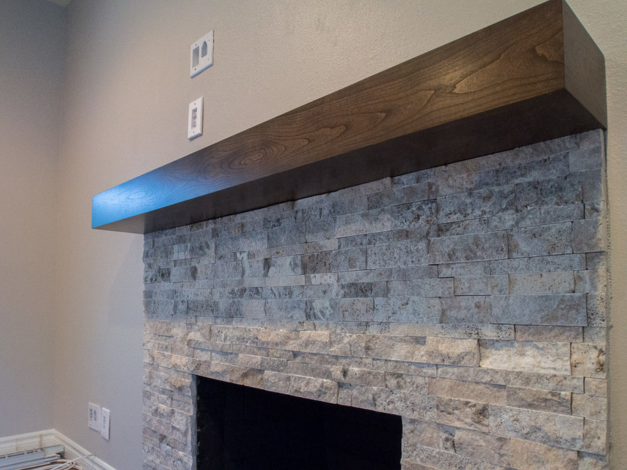 Modern cherry mantel with charcoal stain