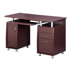 Complete Workstation Computer Desk With Storage, Chocolate