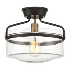 1-Light Semi-Flush Mount, Oiled Rubbed Bronze and Brass