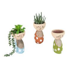 Adorable Smiling Round Clay Face Pot 3-Piece Set River Rock Polka Dot Vase