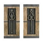 "Wood Metal Wall Deco 2-Piece Set, 30""x14"""