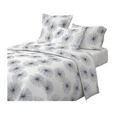 Dandelions Navy White Mid Century Modern Cotton Duvet Cover, King