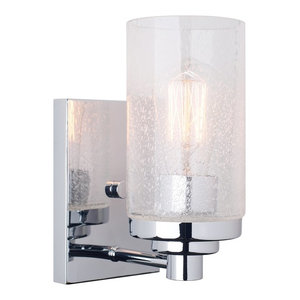 """Kira Home Vienna 9"""" Transitional Wall Sconce with Seeded Glass Shade, Chrome"""