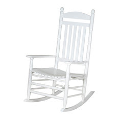 Hinkle Chair   Riverside Round Post Slatback Adult Rocker, White   Rocking  Chairs