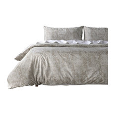 Palmer Taupe Cotton Percale Printed Reversible Duvet Cover Set, Queen