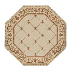 Orleans Traditional Border Ivory Octagon Area Rug, 8' Octagon