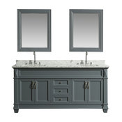"DEC059D-G-WT Hudson 72"" Double Sink Vanity Set in Gray with Marble Top"