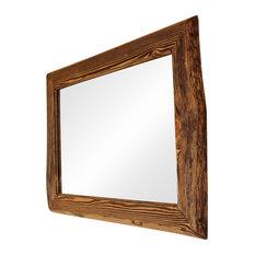 Felted Pine Wood Wall Mirror, 90x70 cm