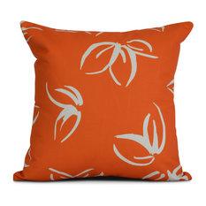 "18x18"", Floral Outdoor Pillow, Orange"