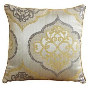 Damask Yellow Pillow Shams, Jacquard Weave 60x60 Pillow Sham, Damask Galore