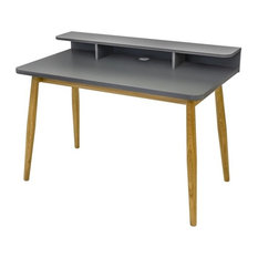 Farsta Wooden Desk, Grey and Oak