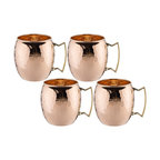 Hammered Solid Copper Moscow Mule Mugs, 16 Oz., Set of 4