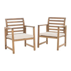 GDFStudio - Eveleigh Coastal Outdoor Natural Stained Acacia Wood Club Chairs, Set of 2 - Outdoor Lounge Chairs