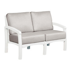 Bay Breeze Loveseat w/ Cushions, White/Spotlight Ash Cushion