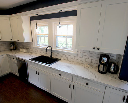 White Kitchen With Marble Look Laminate Countertop Akron Oh
