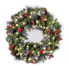 "National Tree Company - 24"" Crestwood Spruce Wreath With Battery Operated Warm White LED Lights - Wreaths and Garlands"