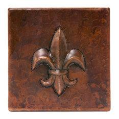 "4""x4"" Hammered Copper Fleur-de-Lis Tile, Set of 4"