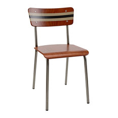 School Contemporary Dining Chair, Silt and Black Striped Backrest