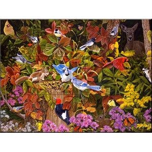 Tile Mural, Woodland Menagerie - FS, 43.2x32.4 cm