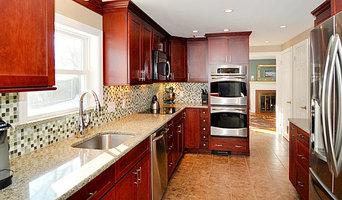Contemporary Kitchen with glass mosaic backsplash