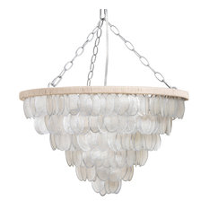 Round Chandelier With Hand-Painted Edge Oval Capiz