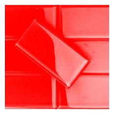 """Contempo 3""""x6"""" Glass Subway Tile, Lipstick Red"""