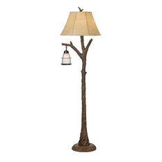 Mountain Wind 2 Light Floor Lamp in Aged Oak