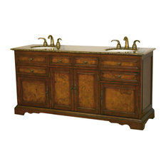 "72"" Traditional Double Sink Bathroom Vanity, Baltic Brown Top, Distressed Finish"