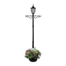 Sun-Ray Crestmont Single-Head Solar Lamp Post and Planter With Hanger, Black