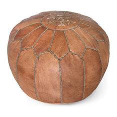 Moroccan Leather Stuffed Pouf, Dark Tan