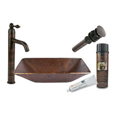 Modern Rectangle Hand Forged Old World Copper Vessel Sink, Oil Rubbed Bronze