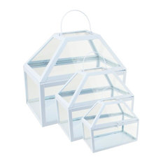 3-Metal and Glass Paneled Nesting Greenhouse Terrariums