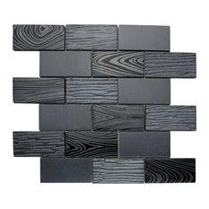 "11.75""x11.75"" Walker Glass Subway Mosaic Tile Sheet, Black"