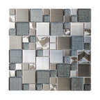 "11.8""x11.8"" Modern Cobble Stainless Steel With Silver Glass Tile, Single Sheet"