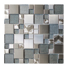 Eden Mosaic Tile 11 8 X11 Modern Cobble Stainless Steel With Silver
