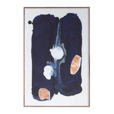 """Indigo Midnight With Copper Cutouts"" Artwork, Framed"