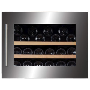 Dunavox 28 Bottle Fully Integrated Single Zone Wine Fridge, Stainless Steel