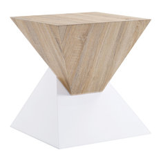 Square Shape Wooden Night Table With Pyramidal Base White And Brown