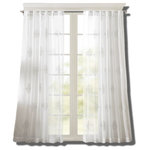 """Bombay - Massa Embroidered Sheer Window Curtain White 84"""" Panel - Delicate and sophisticated, our Bombay Massa window panel will soften any room for a simple and elegant update. Lightweight sheer fabric features beautiful embroidered medallions in pure white, for a soft and tonal look. Hang on rod pocket or back tabs for a tailored look, fits up to 1.25"""" diameter rod."""