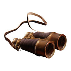Old Modern Handicrafts, Inc. - Binocular W Leather Overlay In Wood Box - Decorative Objects and Figurines