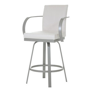 Swivel Stool With Upholstered Seat And Back Bar Stools